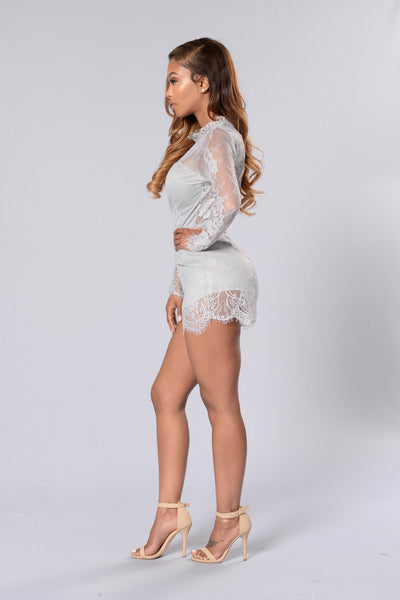 In Your Dreams Romper - Light Grey