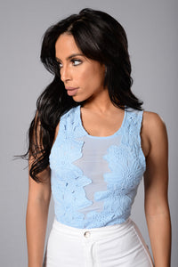 Beautiful Disaster Bodysuit - Pale Blue Angle 1