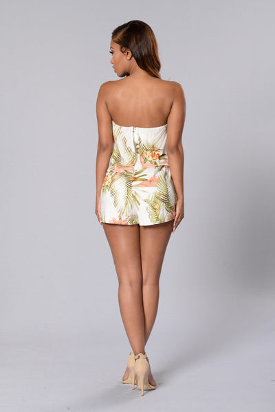 Island Style Romper - Peach/Olive