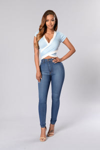 Across the Block Top - Light Blue/Ivory