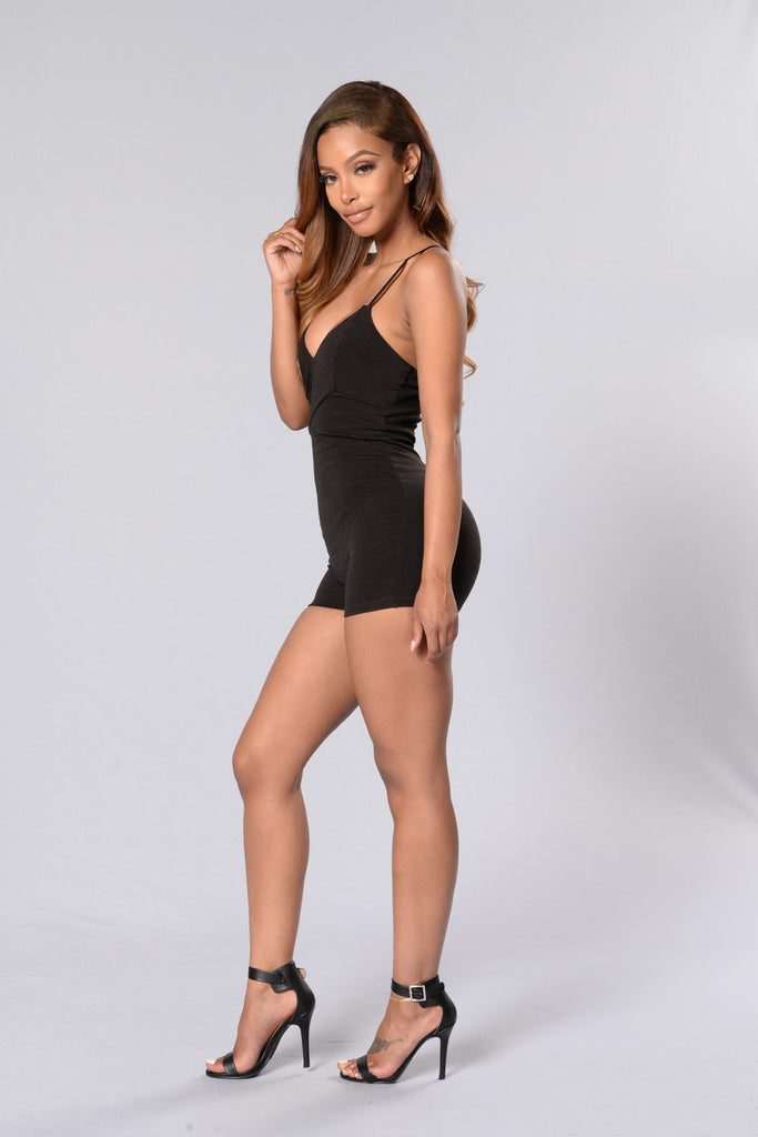 Cross Over Romper - Black