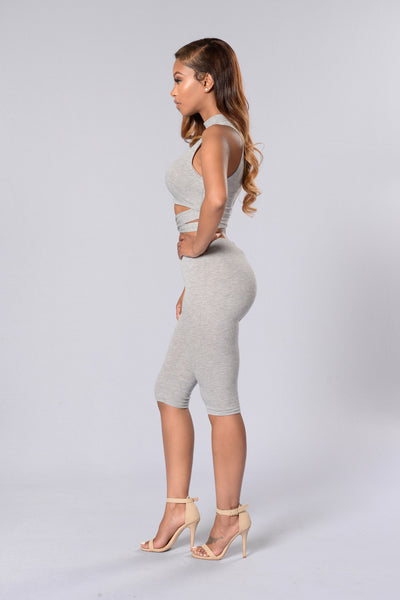 Runaway With Me Crop Legging - Heather Grey