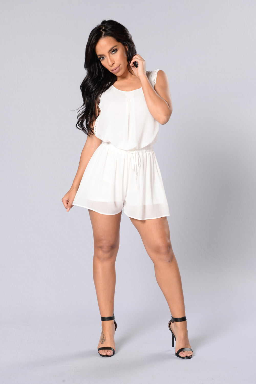 Behind Bars Romper - White