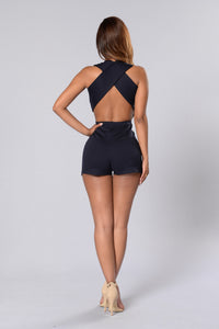 Hot Wave Romper - Navy