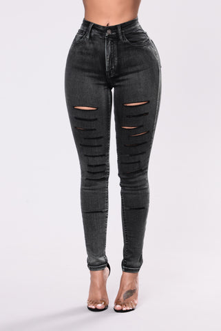 Make It Quick Jeans - Black/Green Tint