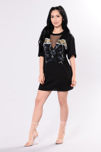 Women's Black Fishnet Band Tee