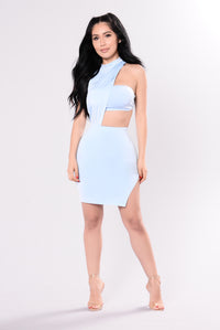 Look Away Dress - Light Blue