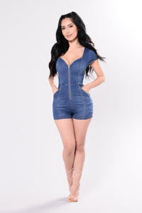 Got The Love Romper - Medium Wash