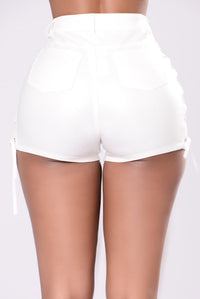 Trace Up The Lace Up Shorts - White
