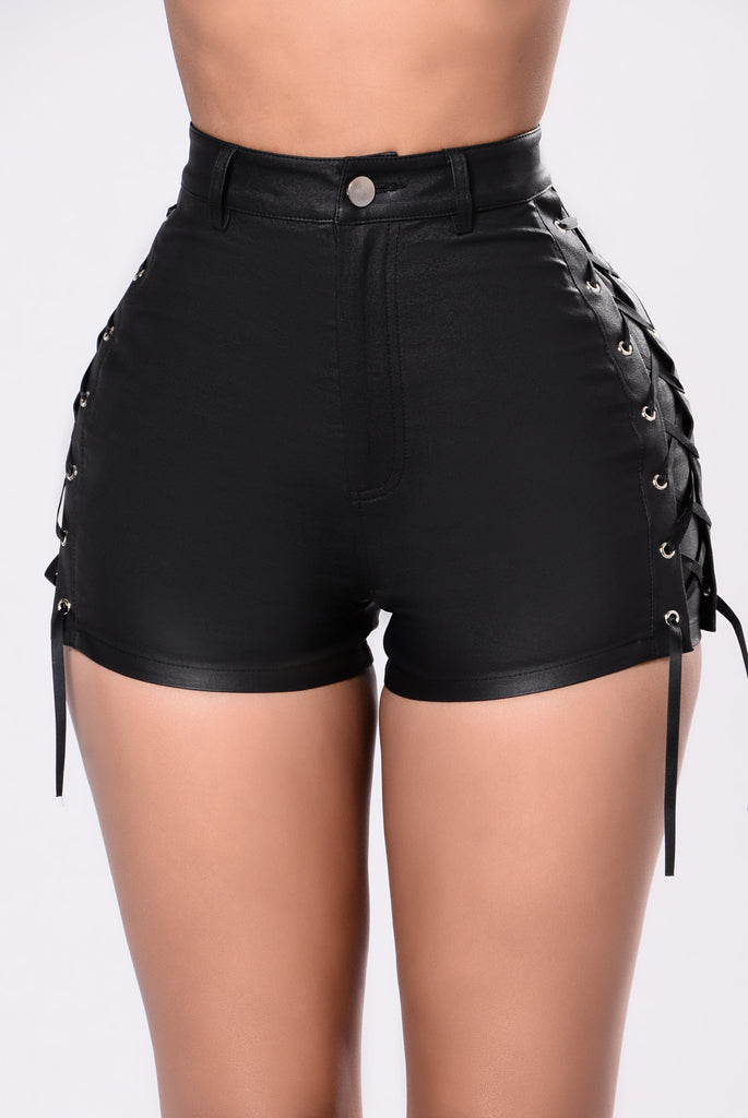 Trace Up The Lace Up Shorts Black