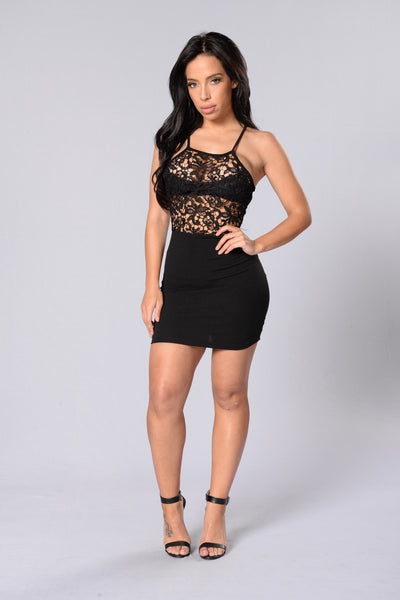 Sheer Success Dress - Black