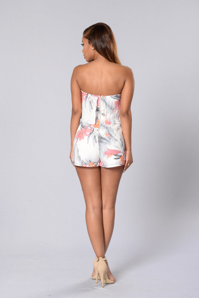 Island Style Romper - Coral/Grey
