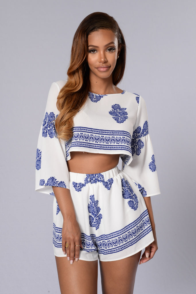 Bells & Whistles Top - Ivory/Blue