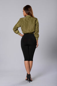 Word Up Bomber Jacket - Olive