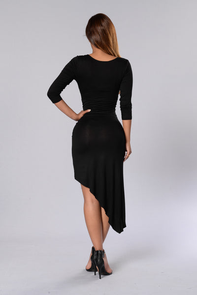 Side Swept Dress - Black