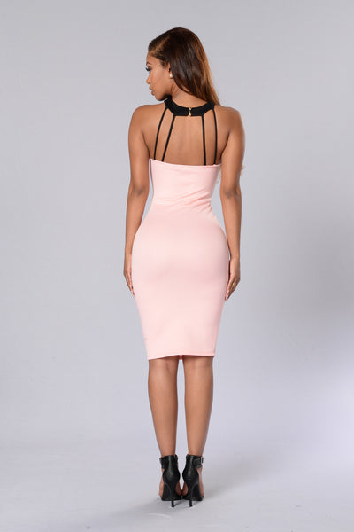 Ultra-Feminine Dress - Blush/Black
