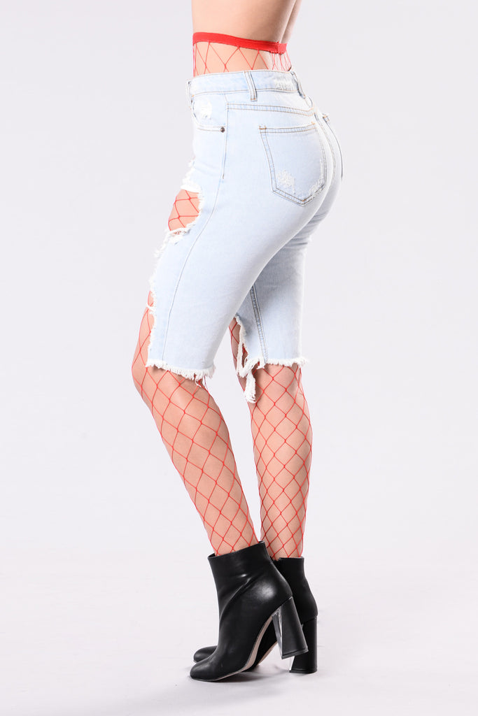 Women's Red Fishnet Tights
