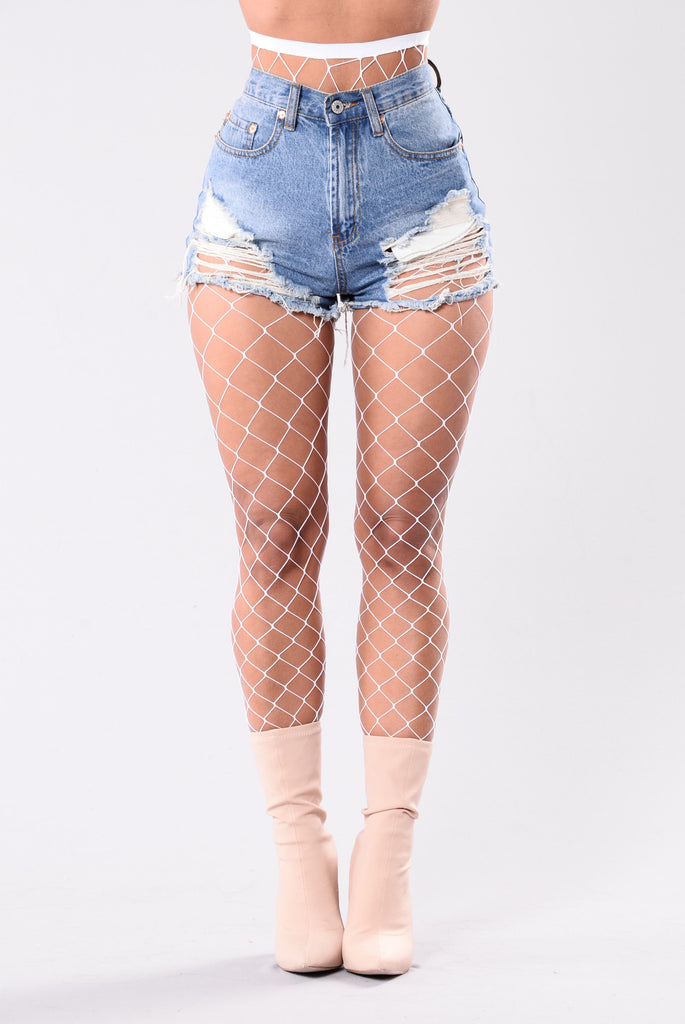 Madelyne diamond fishnets tights white for Fish net tights