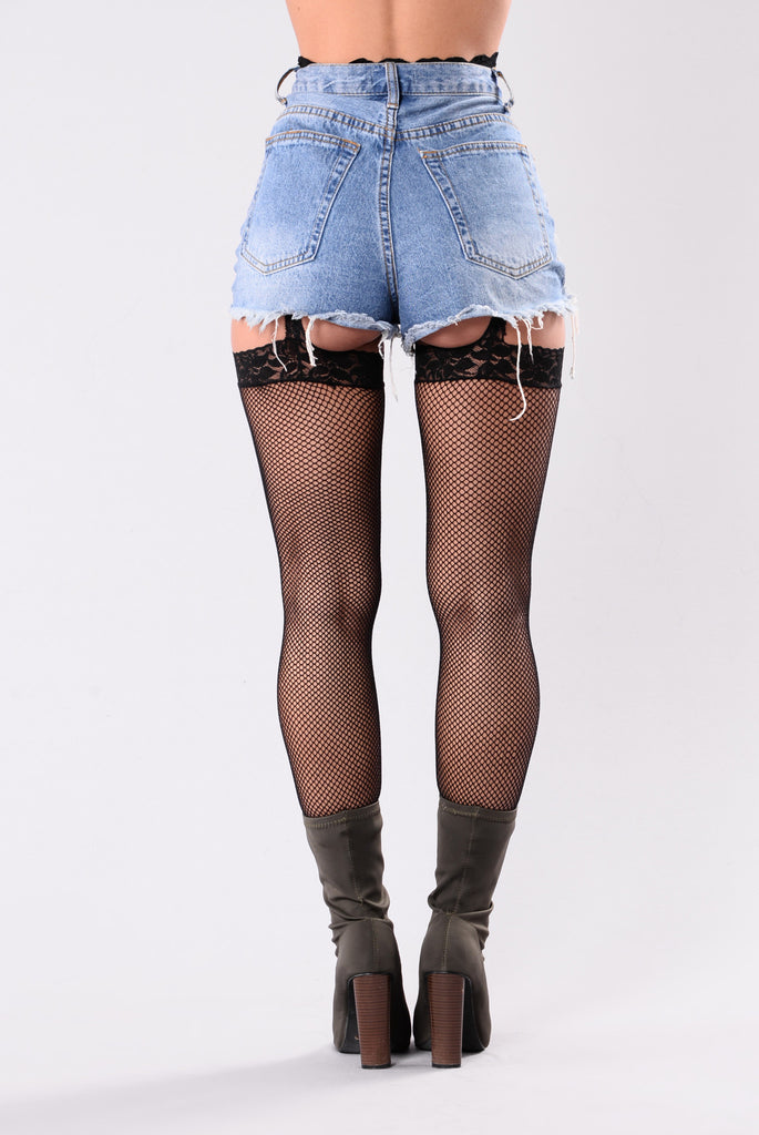 Women's Black Fishnet Stockings