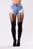 Sadie Faux Garter Tights - Black