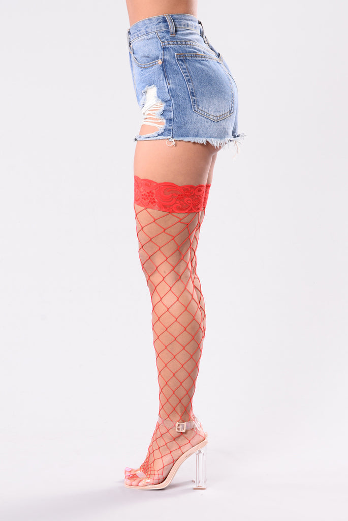 Women's Red Thigh High Fishnet Stockings with Lace