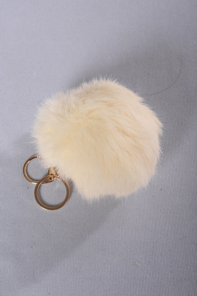 Pom Pom Key Chain - White