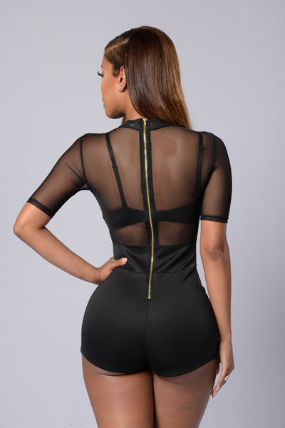 Sheer Madness Romper - Black