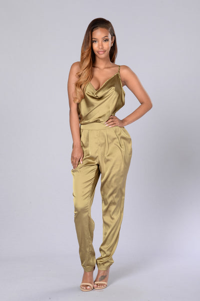 Never Boring Jumpsuit - Olive