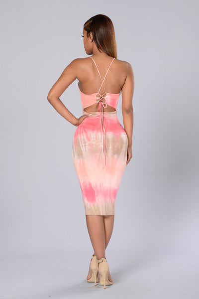 Miley Dress - Coral/Taupe