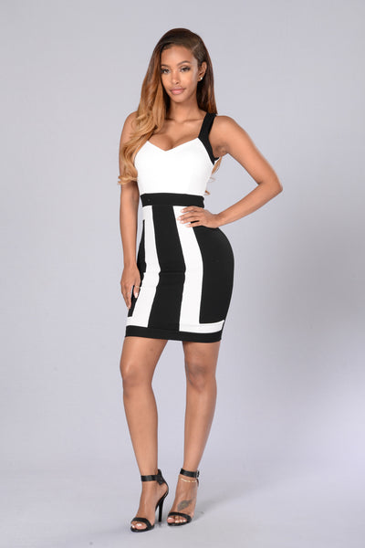 Block Out the Haters Dress- White/Black