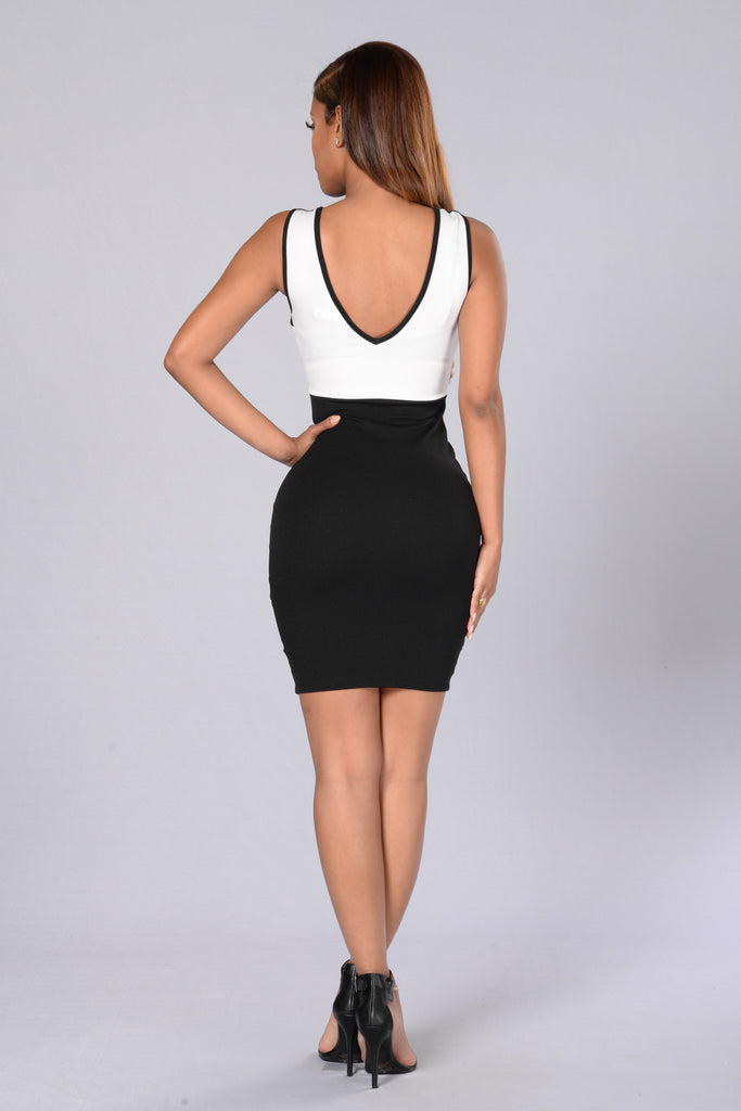 Block Out the Haters Dress - White/Black