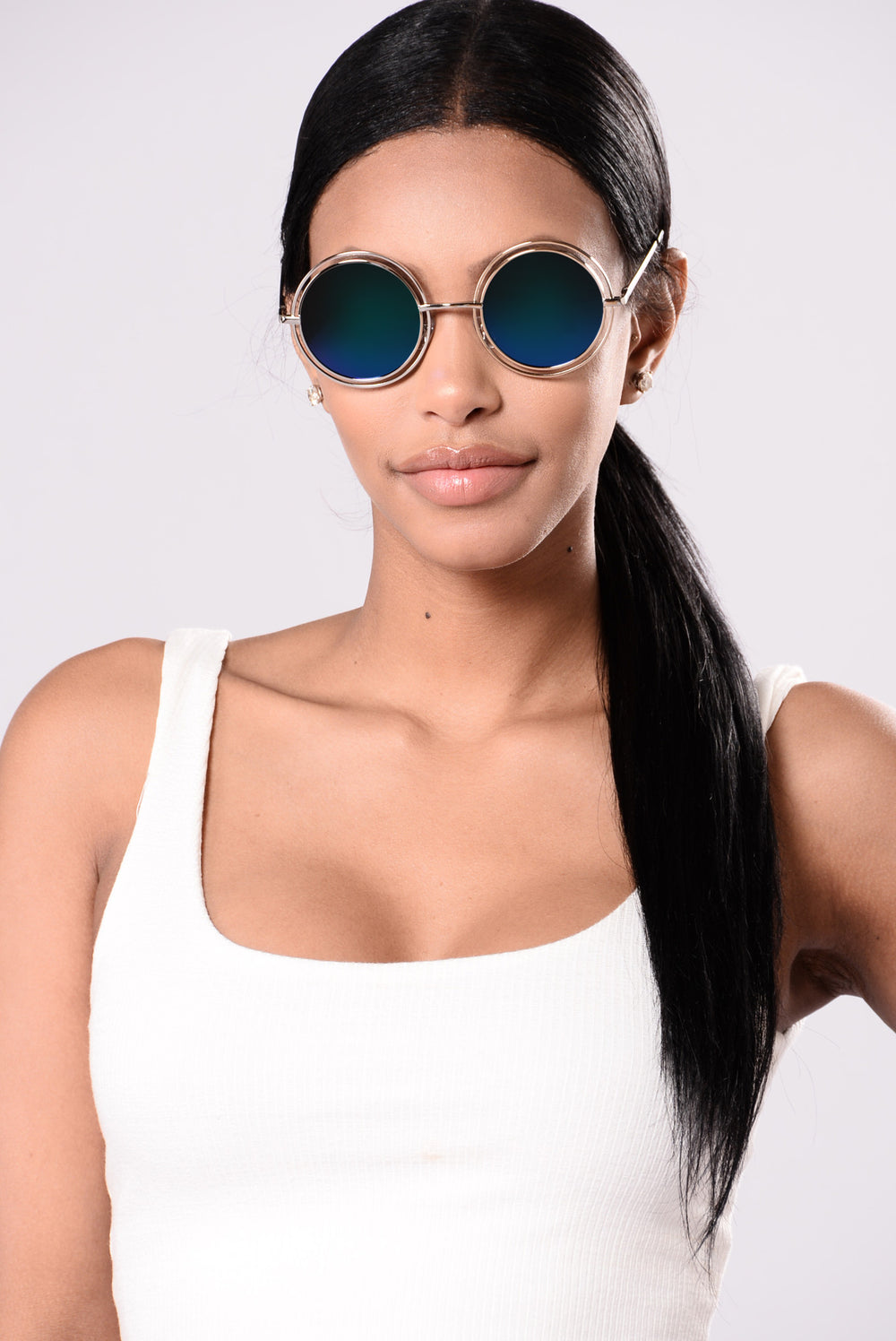 Courtney Sunglasses - Silver/Green