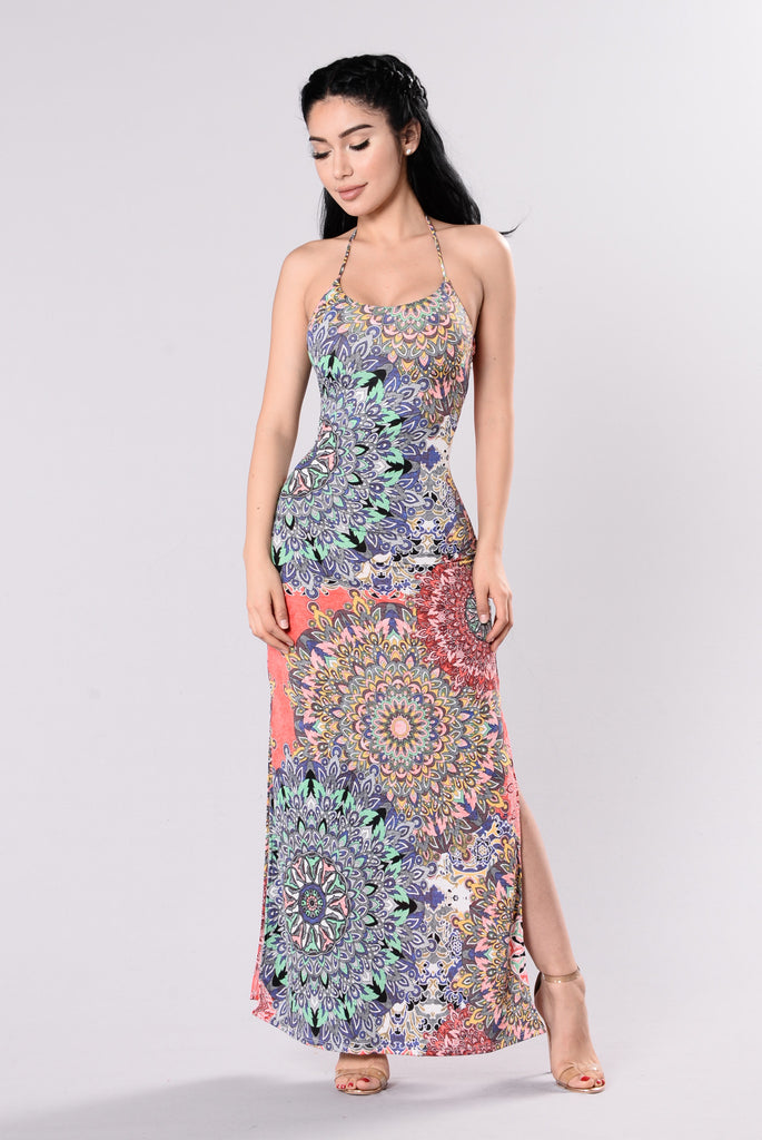 I Can't Hold Back Dress - Coral/Multi