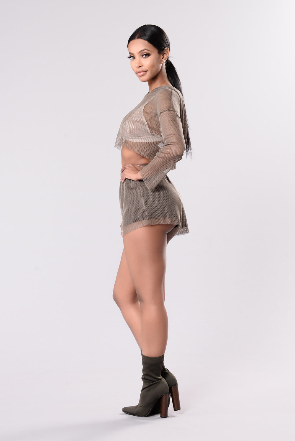 Secret Fishnet Shorts - Olive