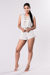 Lost My Focus Romper - Light Grey