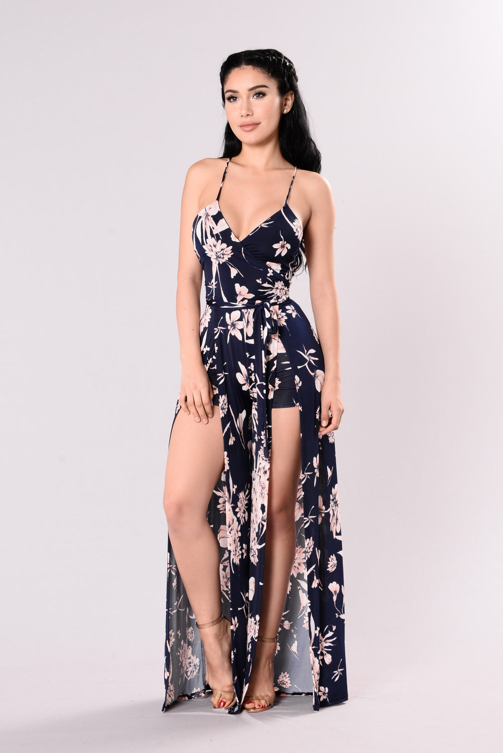 A View To Kill Floral Jumpsuit - Navy