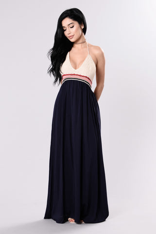 Wonder If You Think About Me Dress - Navy