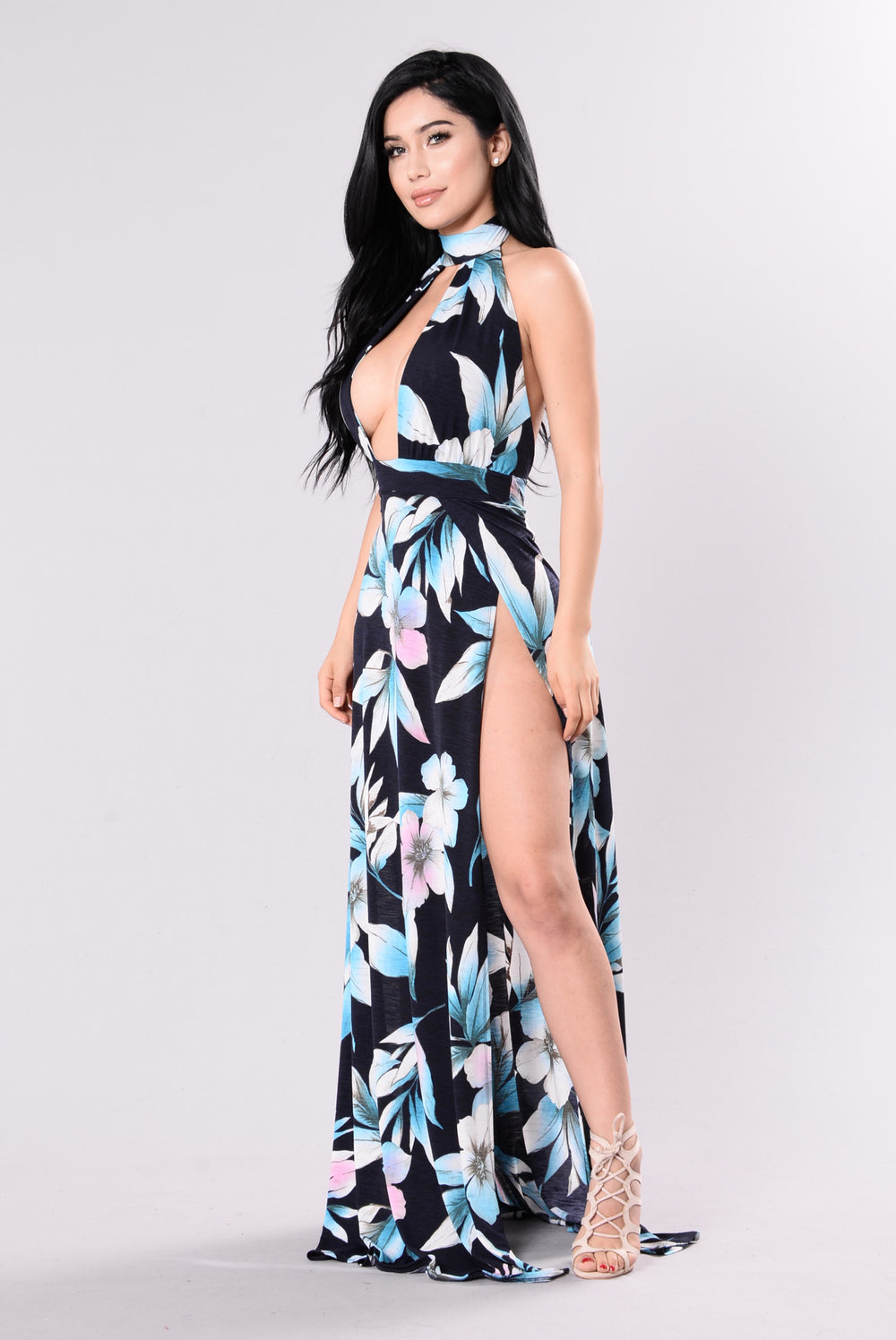 Vacation Days Cover Up Maxi Dress - Navy Floral