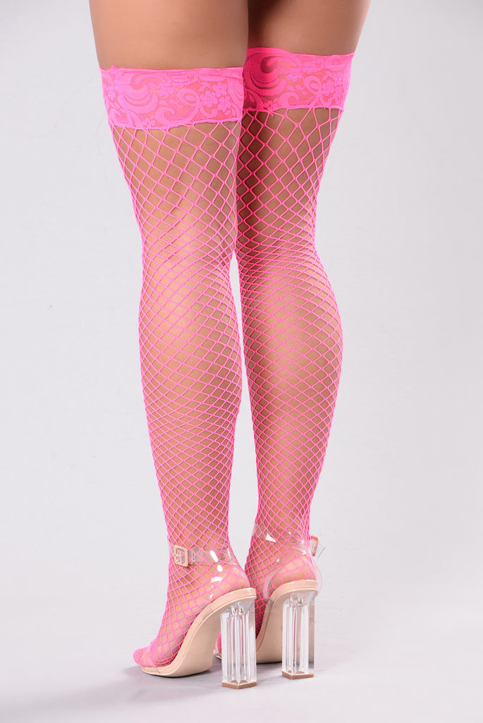 Natalia Fishnets Lace Stockings - Hot Pink