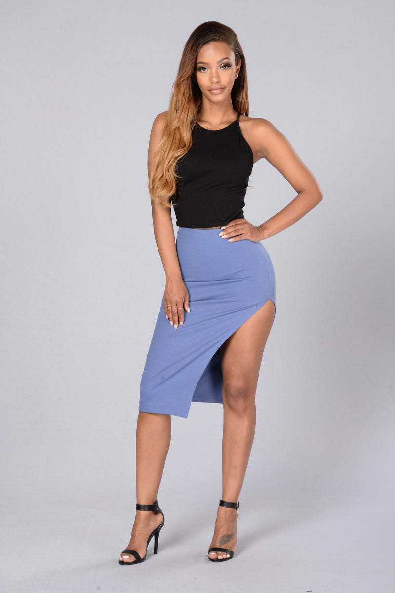 Cut It Skirt - Denim Blue