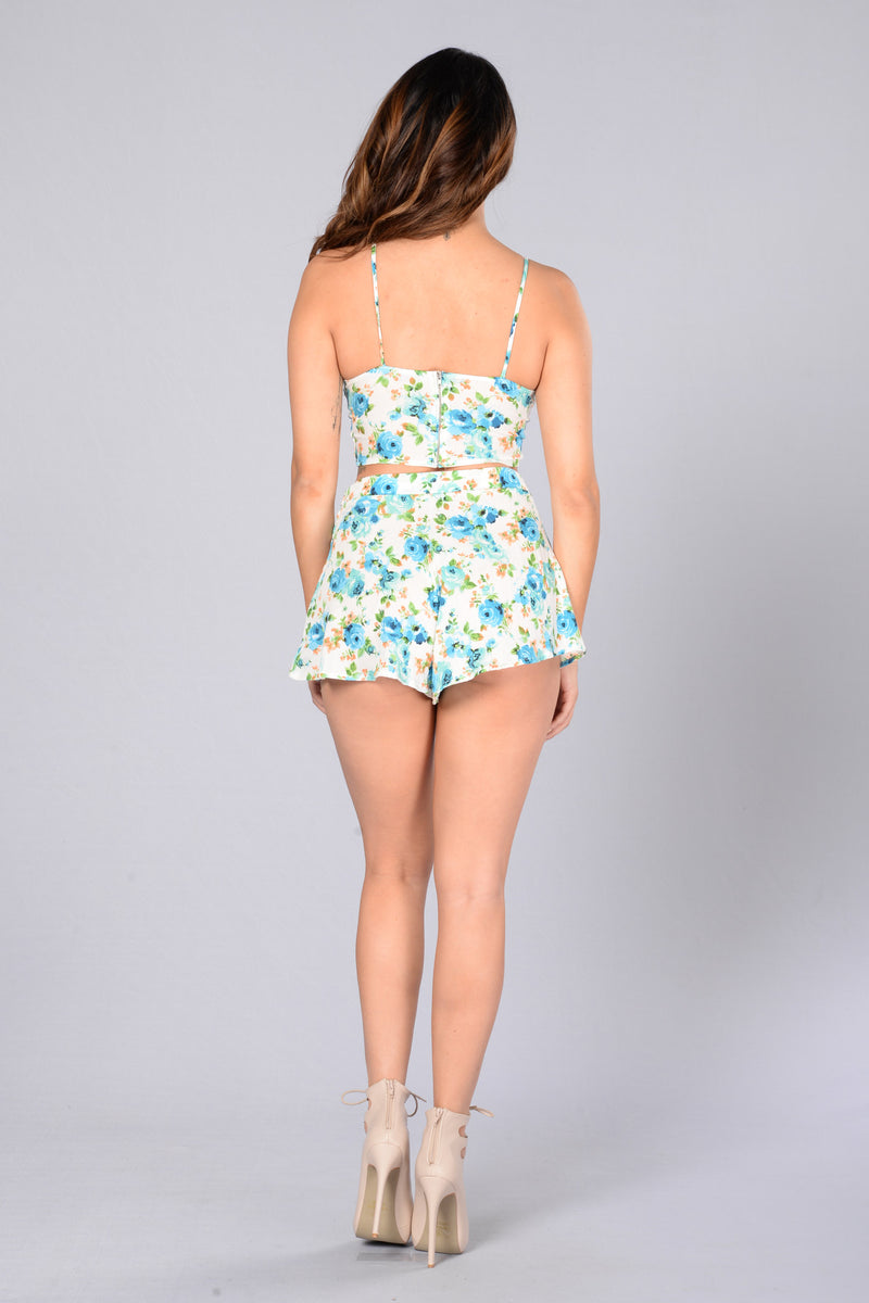 Always Blooming Shorts - Blue