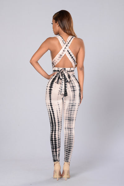 Camryn Jumpsuit - Black/Taupe