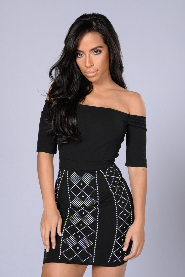 Bedazzled Dress - Black