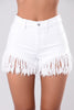 Fringe Denim Short - White