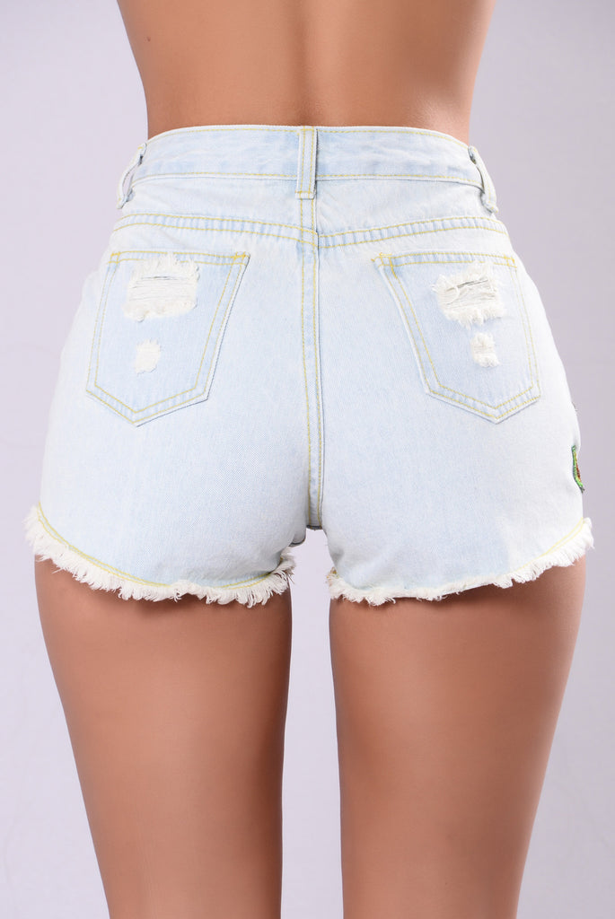 Orchids In The Moonlight Denim Shorts - Denim Blue