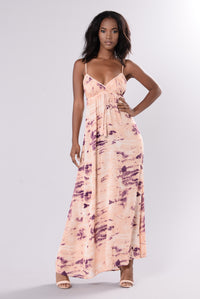 Pacific Island Maxi Dress - Tan