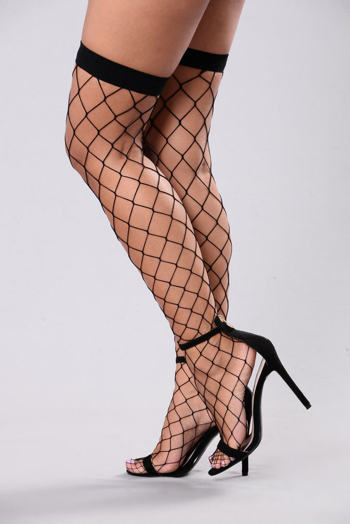 Women's Black Thigh High Fishnet Stockings