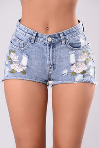 Bed Of Roses Denim Shorts - Denim Blue