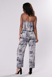 Beach Bar Tie Dye Jumpsuit - Grey