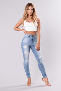 No Need To Pretend Jeans - Light Blue Angle 2